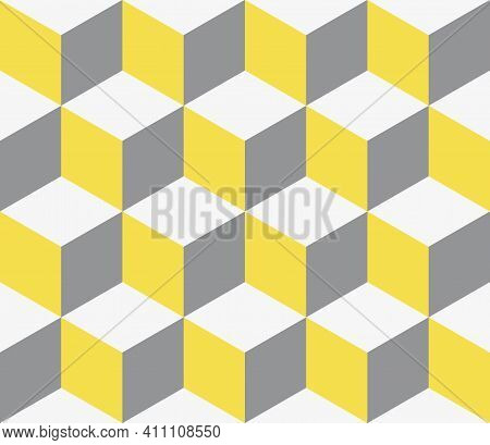 Colors Of Year 2021 Illuminating Yellow And Ultimate Gray Seamless Isometric Pattern. Grey, White An