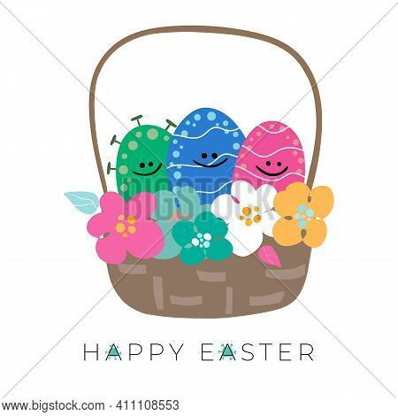 Easter Eggs In Basket With Bright Spring Flowers And Eggs. There Is Coronavirus, Covid 19 Look Likes
