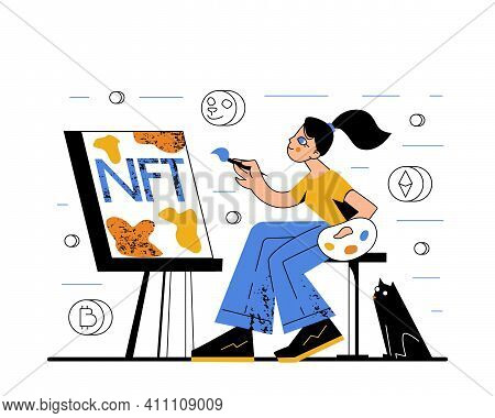 Modern Flat Style Creative Vector Illustration Of A Female Artist Painting A Picture Of Non-fungible