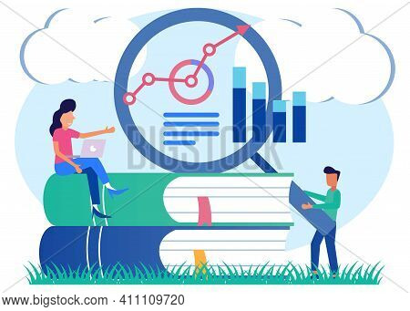 Vector Illustration Of Business Concept, Office Worker Studying Infographics, Evolution Scale Vector