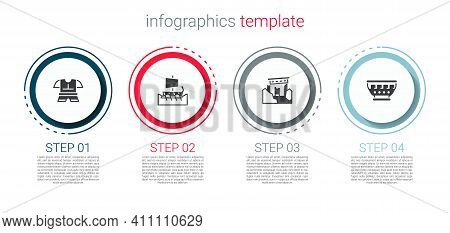 Set Body Armor, Greek Trireme, Ancient Ruins And Ancient Bowl. Business Infographic Template. Vector