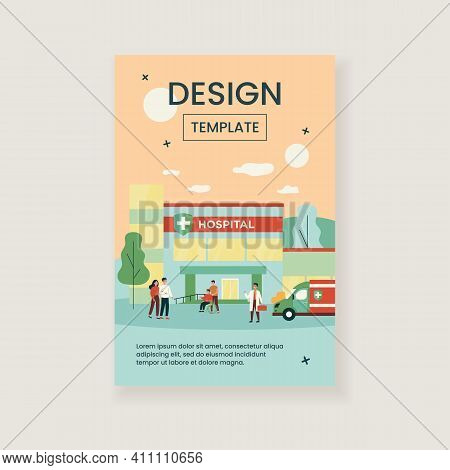 Hospitalized Patients And Doctors Near Hospital Flat Vector Illustration. Cartoon People In Front Of