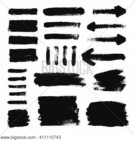 Brush Strokes And  Grunge Texture Banners. Rectangle Text Boxes. Vector Set On White Background