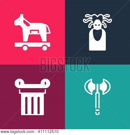 Set Pop Art Medieval Axe, Ancient Column, Medusa Gorgon And Trojan Horse Icon. Vector