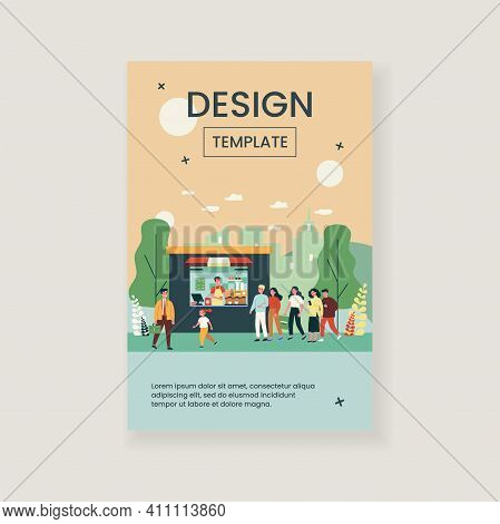 People Buying Takeaway Coffee. Queue, Street, Morning Flat Vector Illustration. Hot Beverage And Dri