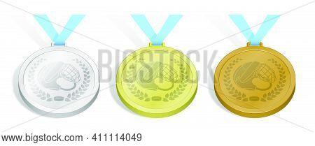Set Of Sport Ice Hockey Medals Emblem Of Open Hockey Helmet And Black Rubber Puck In Laurel Wreath F