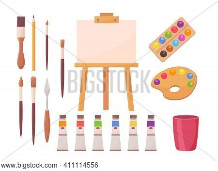 Drawing Supplies Set. Artists Tools, Brush, Paint, Palette, Easel, Paintbrush, Canvas Isolated On Wh