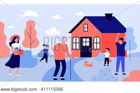 Grandpa Visiting Children And Grandkids. Kids And Young Couple Welcoming Old Man At House. Flat Vect