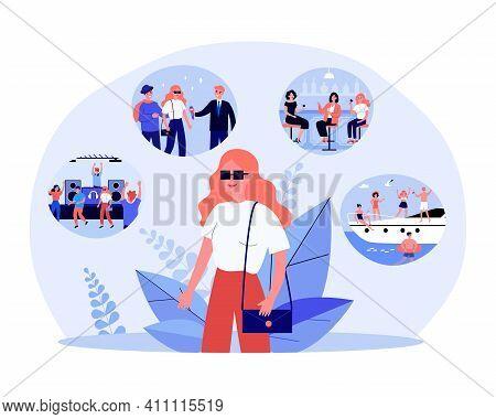 Girl Enjoying Happy Memories. Young Woman Planning Her Vacation. Flat Vector Illustration. Life Memo