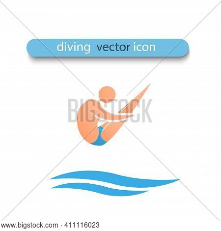An Athlete Jumps From Springboard Into The Water. The Athlete Is Grouped In The Air. He Rotates Arou