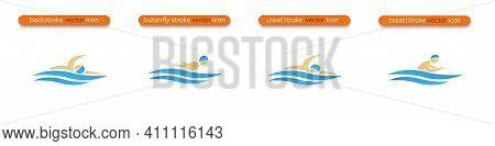 Set Of Vector Symbols Depicting Butterfly Stroke, Front Crawl Stroke, Backstroke And Breaststroke Sw