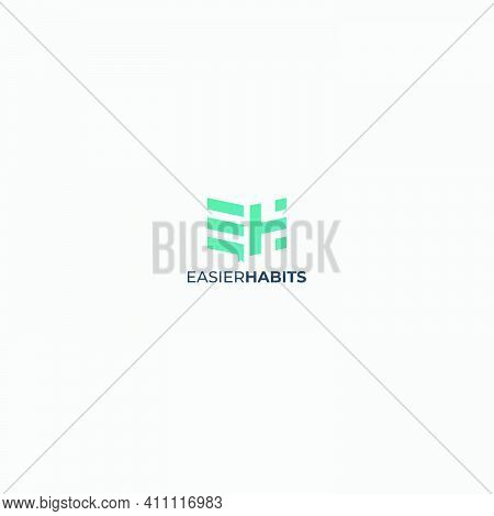 Monogram Eh Letter Logo Abstract Green Modern