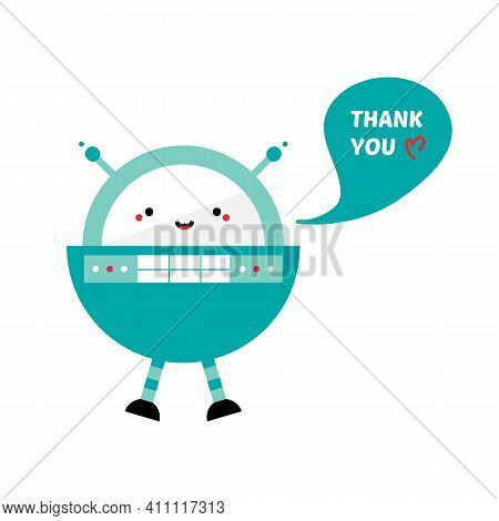 Cute Cartoon Style Rounded Spaceman Robot Character, Toy Saying Thank You, Showing Appreciation. Vec