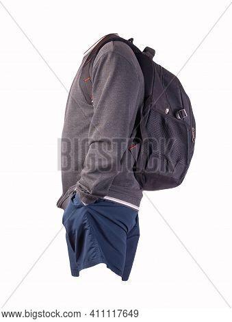 Black Backpack,gray White Sweatshirt ,dark Blue Shorts Isolated On White Background. Sportswear