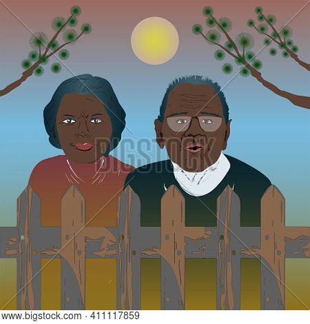 Elderly African American Parents Stand By The Fence And Gaze Thoughtfully Into The Distance.  Vector