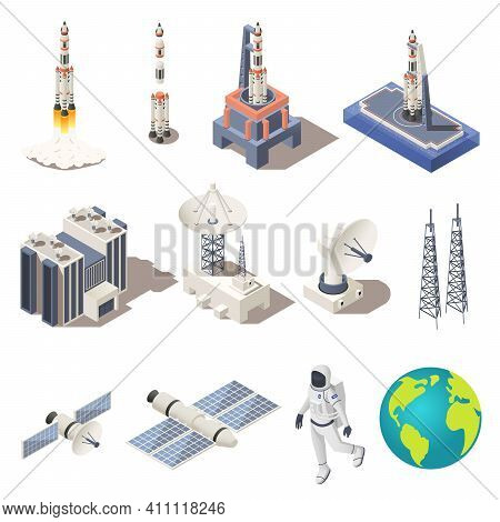 Space Research Isometric Icons Set With Rocket Astronaut Planet Earth Radar Command Center Isolated