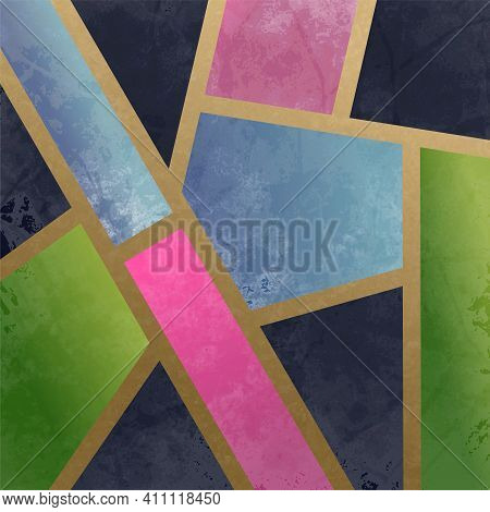 An Artistically Designed And Digitally Created Art Deco Style Abstract With Gold Lines And Block Pol