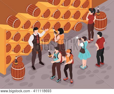 Sommelier Showing Different Kinds Of Wine To Customers In Cellar 3d Isometric Vector Illustration