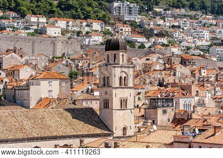 Cupola Tower Above Red Brick In Dubrovnik Old Town In Croatia Summer Morning