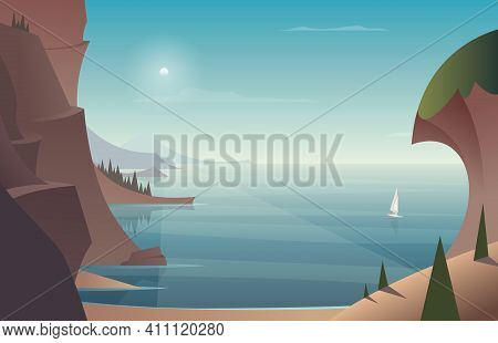 Seascape With A Road In The Rocks And A Sandy Beach On A Clear Day And Sailboat Or White Boat On The