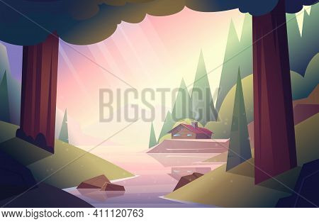 Wooden House Or Hut In The Woods By The River. Forest Hut. Vector Cartoon Summer Landscape