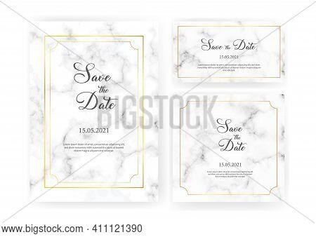 Elegant Wedding Invitations Set With Golden Geometric Frames And Gray Marble Texture. Luxury Invitat