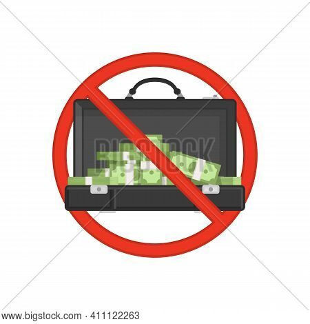 Anti Corruption Concept. Businessman Giving A Bribe. Cash In Suitcase Of Businessmen During Corrupti