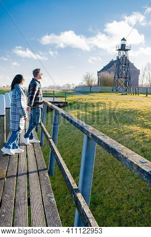 The Former Island Schokland. Couple Man And Woman Visit The Former Island Schokland, The Former Isla