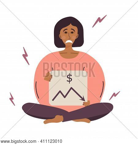 A Tired Woman Sitting In A Lotus Position With A Sign In Her Hands, Lost Money . A Tired Woman Is In