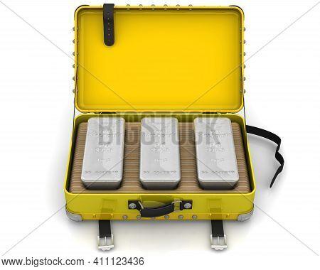 One Suitcase With Palladium Ingots. One Suitcase Filled With Three Ingots Of 999.9 Fine Palladium. 3