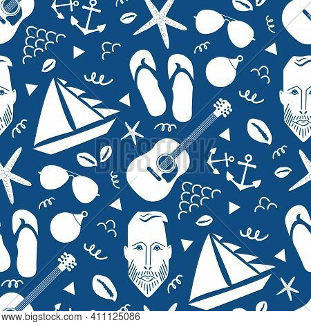 Boats, Male Face, Anchors, Guitar, Flip Flops Vector Seamless Pattern Background. Nautical Backdrop
