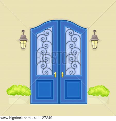 Facade Of Front Double Door With Decorative Bushes In Cachepot And Light Vector Illustration