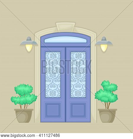 Facade Of Front Double Door With Ornamental Windows, Decorative Bushes In Cachepot And Light Vector