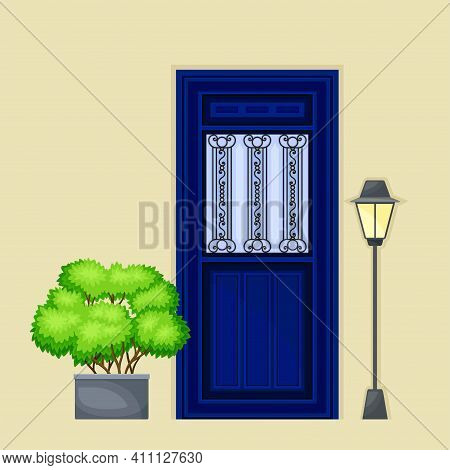 Single Door Facade Decorated With Green Bush In Cachepot And Light Vector Illustration