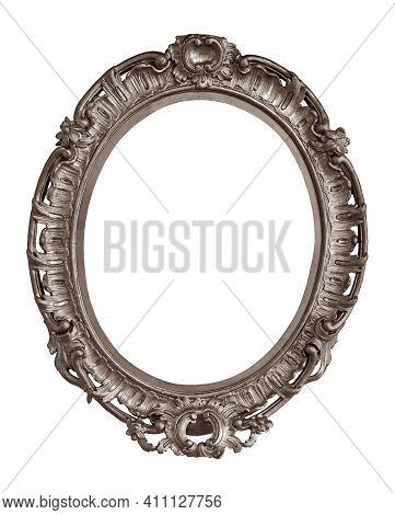 Silver Oval Frame For Paintings, Mirrors Or Photo Isolated On White Background. Design Element With