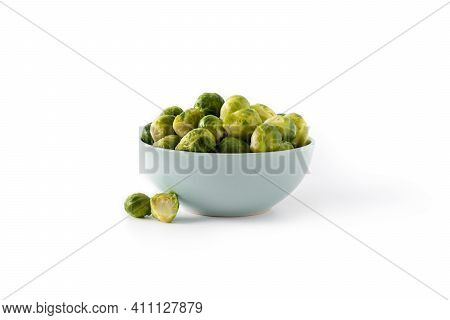 Set Of Brussel Sprouts In A Bowl Isolated On White Background