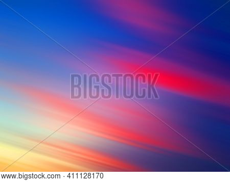 Abstract Colorful Background With Lines. Dramatic Sunset Sky Color  In Blue Red Pink And Orange Yell