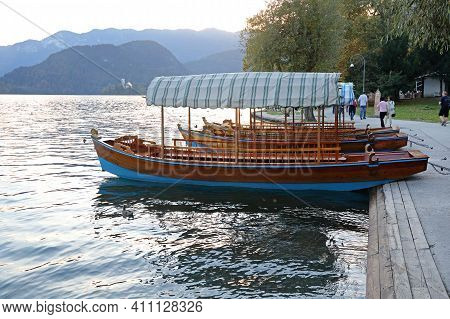Bled, Slovenia - October 12, 2014: Two Tourist Boats At Lake Bled In Slovenia.