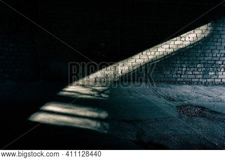 Streak Of Light On A Brick Wall In A Tunnel. Web Banner. For Design.