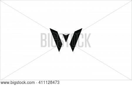 Letter W Monogram Logo Design Minimal Icon With Black Color