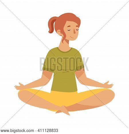 Female With Closed Eyes And Crossed Legs Sitting In Lotus Position Practising Yoga Vector Illustrati