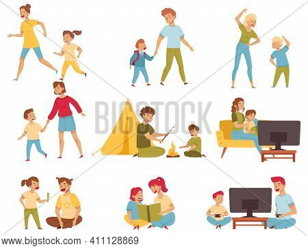 Young Mom And Dad Playing, Watching Tv, Walking And Doing Sport Activity With Their Children Vector