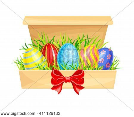Painted Or Foiled Easter Eggs Or Paschal Eggs Rested In Carton Package On Green Grass Vector Illustr