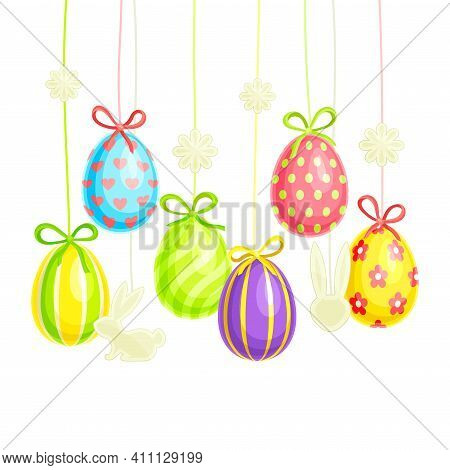 Painted Or Foiled Easter Eggs Or Paschal Eggs Hanging On String With Bow As Festive Decoration Vecto