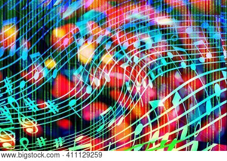 A Bright, Abstract, Multicolored Background In The Form Of A Musical Notation And A Binary Code. Con