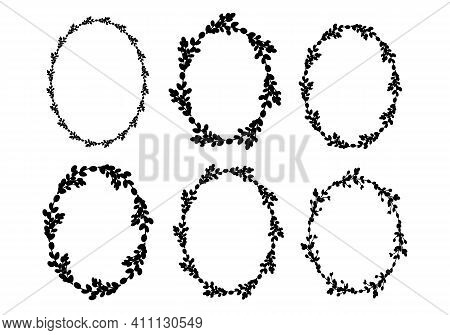 Set Of Easter Willow Wreaths.oval Floral Wreath. Oval Frame Black Silhouette. Vector Illustration. D