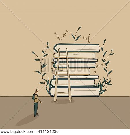 Concept:book Is Source Of Knowledge.tiny Man Ready Ready To Climb Stairs To Stack Of Books And Start