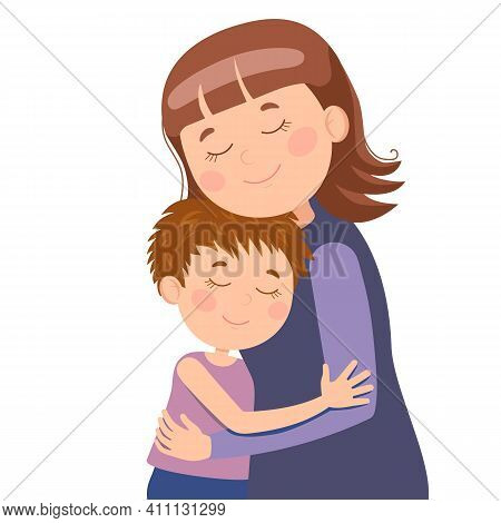 Vector Illustration, Happy Hugs Of Mom And Son, Sincere Love Of Children For Mom. Suitable For Web D