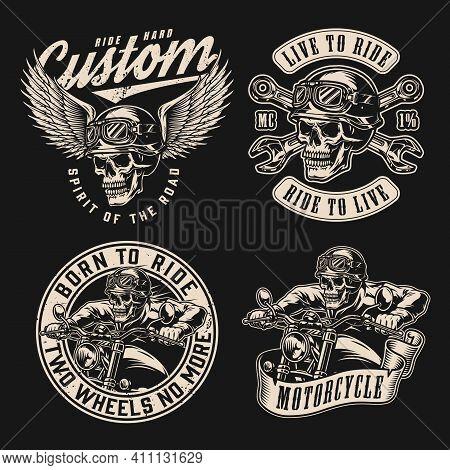 Custom Motorcycle Vintage Monochrome Labels With Crossed Spanners Skeleton Bikers Riding Motorbikes