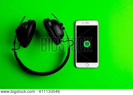 Spain. 03, 05, 2021. An Iphone Screen Showing Spotify Icon With Beats Earphone, Perfect For Listenin